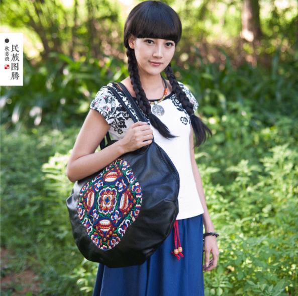 HANSOMFY женские сумки из натуральной кожи 2018 новые оригинальные вышитые первый слой кожаные женские сумки через плечо портативные круглые сум... - 5
