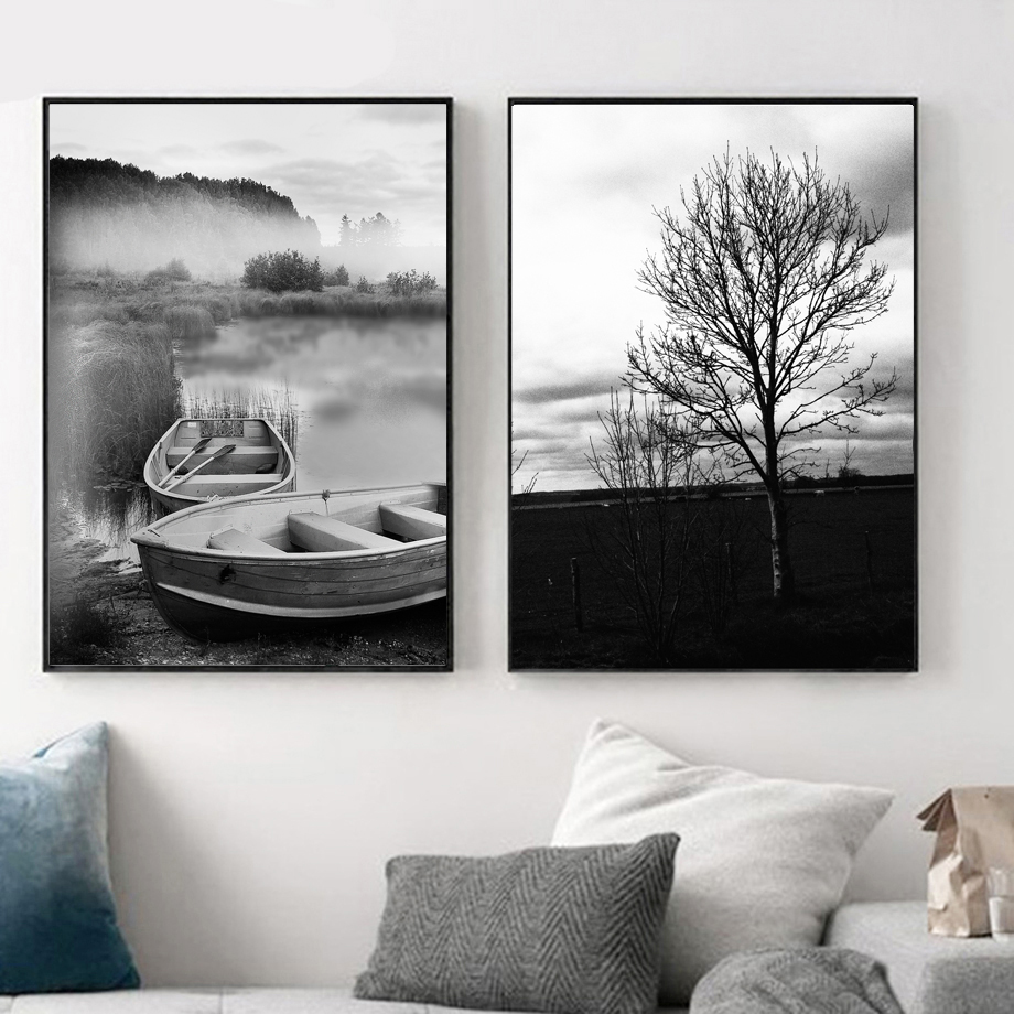 Ship bridge Tree Sea Natural Wall Art Canvas Painting Nordic Posters And Prints Black White Wall Pictures For Living Room Decor in Painting Calligraphy from Home Garden