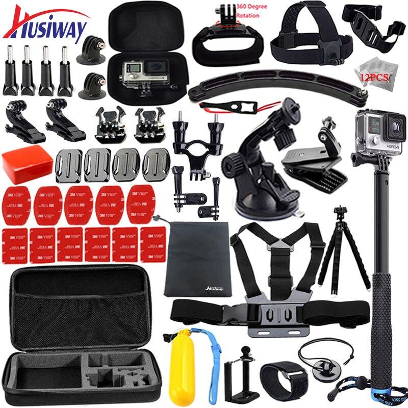 Husiway pour gopro accessoires set pour go pro hero 5 4 3 kit montage pour SJCAM SJ4000/xiaomi yi caméra/eken h9 trépied 13L