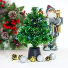 30cm Mini Fiber Optic Desktop USB Charge Christmas Tree Lighting Miniature Pine Ornament Party Home Decorations 2018 New Arivall