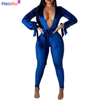 HAOOHU Sexy Hollow Out Velvet Jumpsuit Autumn Winter Overalls Deep v Backless Bodycon Jumpsuits Streetwear Velour Women Rompers