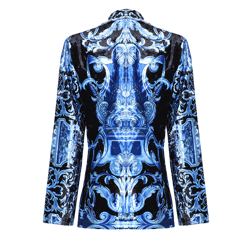SEQINYY Velvet Jacket 2020 Autumn Winter Women Fashion Design Long Sleeve Vintage Printed Short Blazer Blue