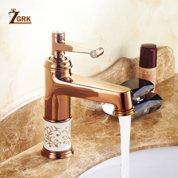 ZGRK Basin Faucets Ceramic Rose Gold Bathroom Sink Taps Deck Mounted Single Hole Water Taps taps