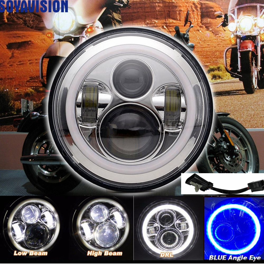 chrome 40w 7 led headlight blue angel eye for harley. Black Bedroom Furniture Sets. Home Design Ideas
