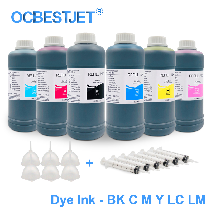 500ML/Bottle Refillable Dye Ink For HP 21 22 122 301 302 178 655 364 564 920 932 933 950 951 711 970 Dye Ink For HP Printer