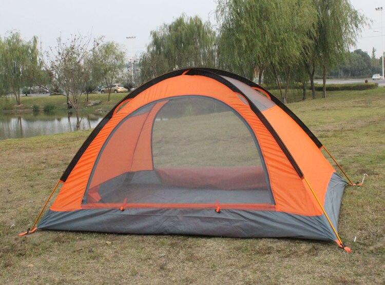 Orange Tent with Mosquito Doors Closed