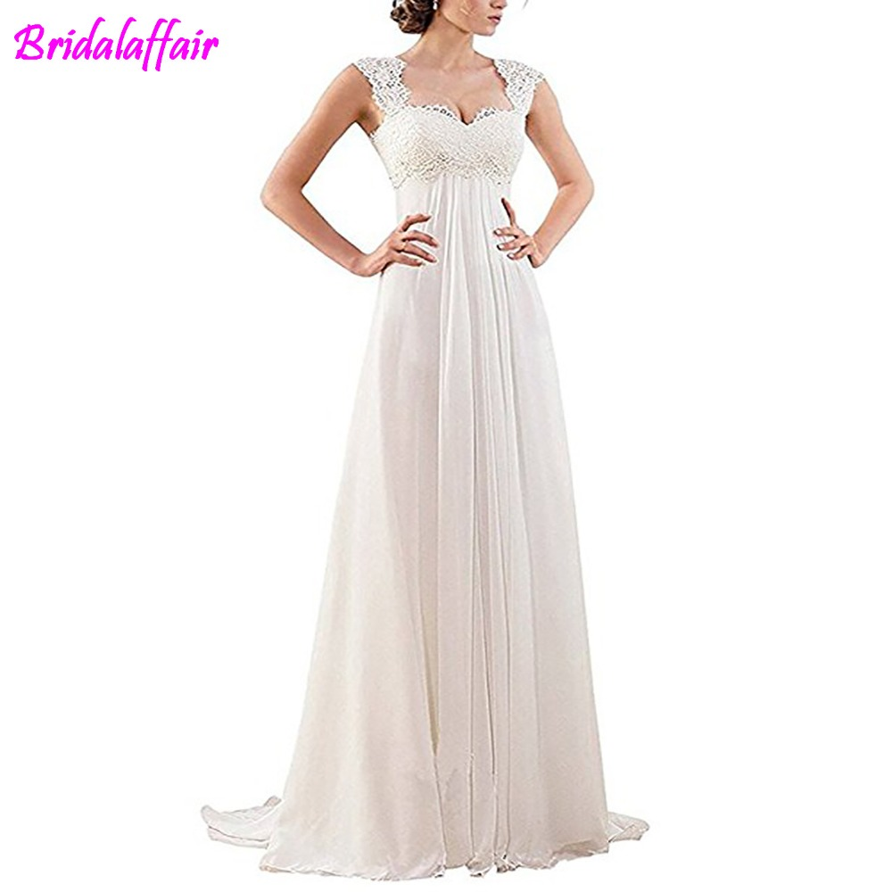 BridalAffair Elegant Bridal Maternity Chiffon Wed Dress Cap Sleeve Dress Beach Wedding Dresses Bridal Gowns