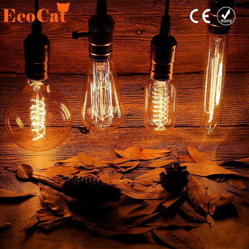 ECOCat Vintage Edison Bulbs E27 Incandescent Bulbs G125 Filament Squirrel-cage Carbon Bulb Retro Edison Light For Pendant Lamp 90% retro vintage 20w edison light bulb chandelier e27 220v lamp industrial incandescent bulbs filament edison light bulb lamp