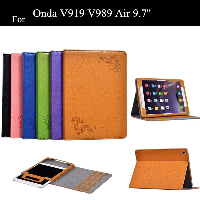 New V919 Flower Print Stand PU Leather Case For Onda V919 V989 Air 9.7'' Tablet Cover +protectors  new v919 flower print stand pu leather case for onda v919 v989 air 9 7 tablet cover protectors