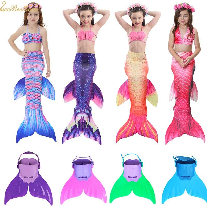 Kids Mermaid Swimsuit Girls Bikini Mermaid Tail Finned Swimsuit Child's Wear Beach Swimwear Swimsuit Mermaid Tail Clothing