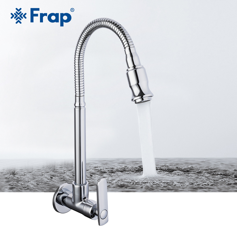 Frap Wall Mounted Kitchen Faucet 360 Degree Swivel Flexible Hose Single Cold Water Kitchen Faucet Brass Kitchen Accessories