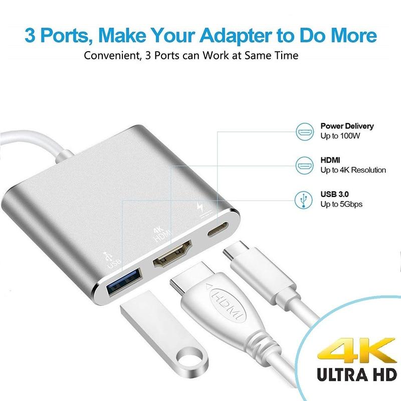 Baolyda USB C Dock HDMI Type C to HDMI Hub Adapter 4K USB C Multiport Adapter USB C Converter for MacBook/Chromebook Pixel/Dell 2