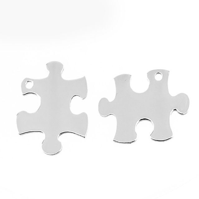 100 Stainless Steel Jigsaw Puzzles Piece Charms Pendants Blank ID Tags Necklace