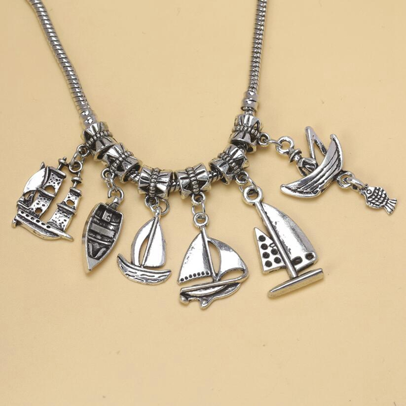 Fashion 115pcs Tibetan Silver Charm Pendant Mix Jet ski Yacht Dinghy Fishing Boat Bead Dangle Charms Fit European Bracelet S5230