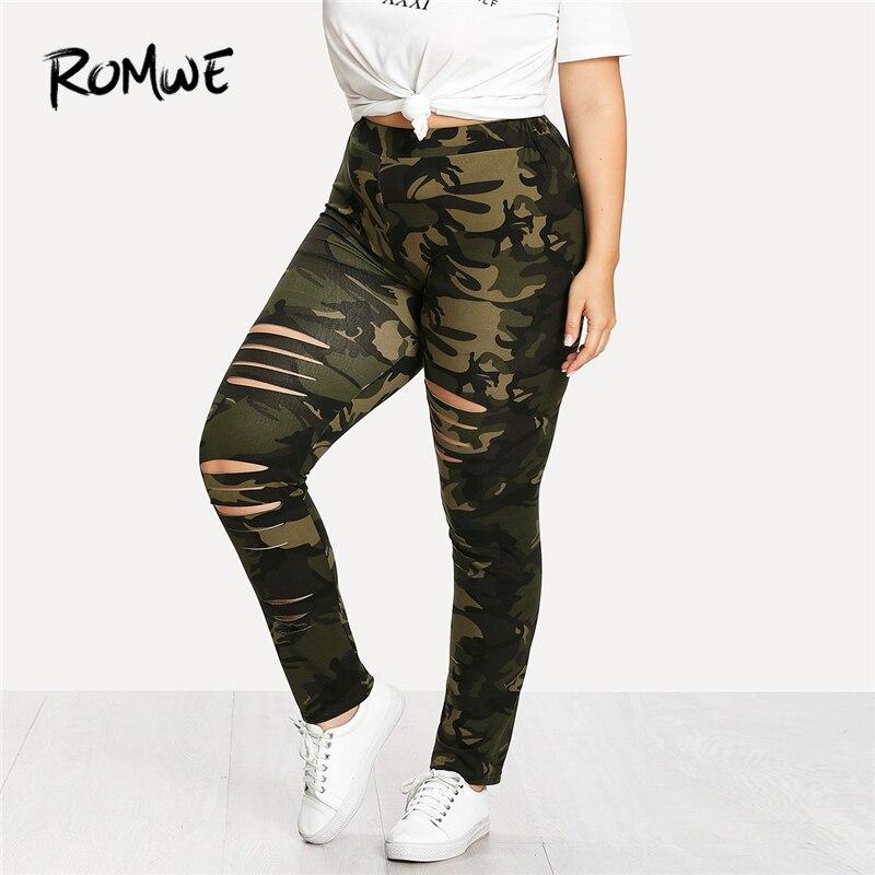 ROMWE Plus Size Camouflage Ladder Ripped   Legging   Women Casual Summer Fashion Weekend Casual Pants Female Sporty Plain Sweatpants