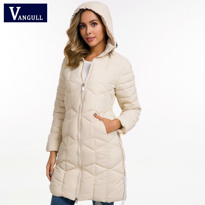 Vangull inverno jaqueta feminina 2019 qualidade casual grosso longo casaco com capuz feminino preto parka casaco feminino