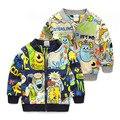 Menino cardigan Camisolas de primavera e outono Novos Casacos dinossauro Dos Desenhos Animados impresso Do Bebê Do Algodão Jaqueta Menino Bonito Meninos Zipper outwear