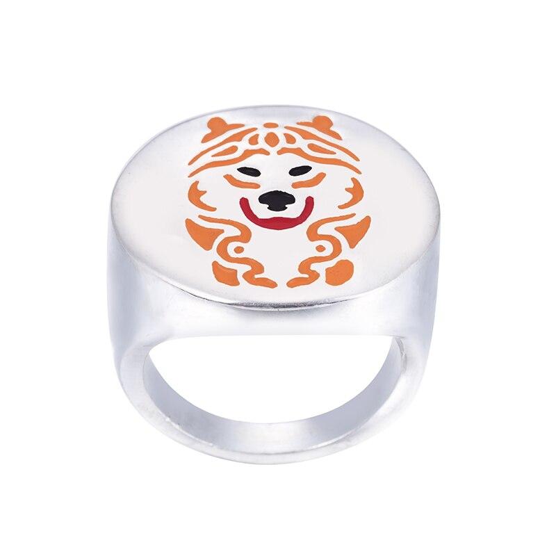 Оптовая продажа кольцо Alaskan Malamute с цветным отбором эмалированные ювелирные изделия для влюбленных и собственников Pet Бесплатная доставка 12