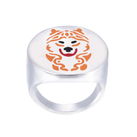 Wholesale Alaskan Malamute ring with color selection enamel jewelry lovers and owners Pet free ship 12Pcs/Lot