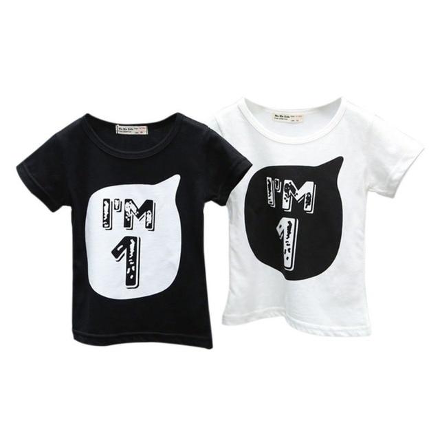 65062658 Summer Baby Boys Girls Black/White T shirt Children Letter Print Printed  Cotton T-shirts Cool Kids Boy's Shirts 0-6Y
