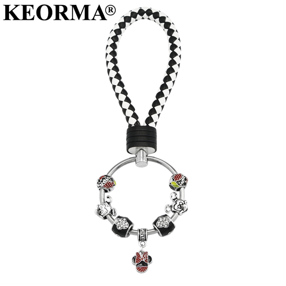 KEORMA Fashion Women Mickey Mouse Charm Keychain Car Key holder Ring Chain For Men Women Gifts PU Leather Bag Keychain YK031