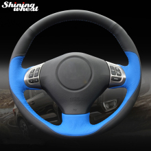 цена на Shining wheat Black Blue Leather Steering Wheel Cover for Subaru Forester 2008-2012 Impreza 2008-2011 Legacy 2008-2010 Exiga 2