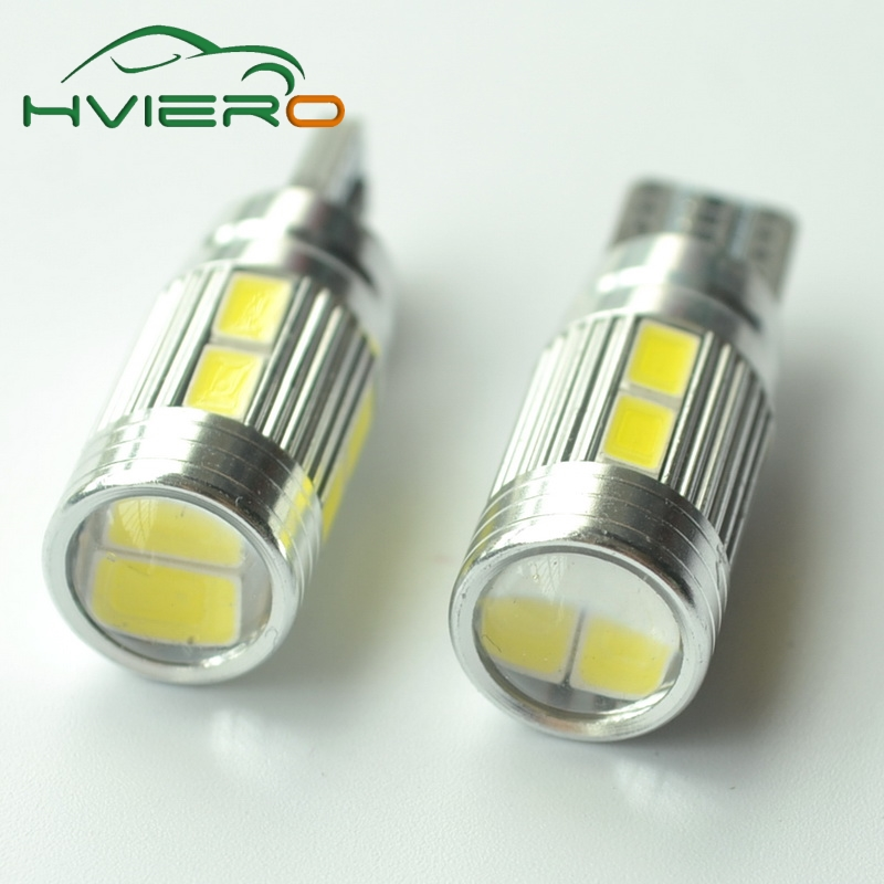 2x T10 5630 10 smd DC 12v Canbus Car Light W5W Bulb No Obc Error clearance turn wedge light side lamp Car styling t10 3w 270lm 6 x smd 5630 led error free canbus blue light car clearance lamp dc 12v 2 pcs
