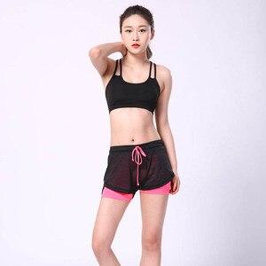 Image 4 - 2018 yaz çift katmanlı şort kadın sıska Fitness şortu kadın elastik rahat şort kadın Joggings pantalones cortos mujer