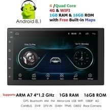 1G di RAM Android 8.1 Auto Radio Quad Core 7 Pollici 2DIN Universale Auto NO lettore DVD GPS Audio Stereo unità di testa di Sostegno DAB DVR OBD BT