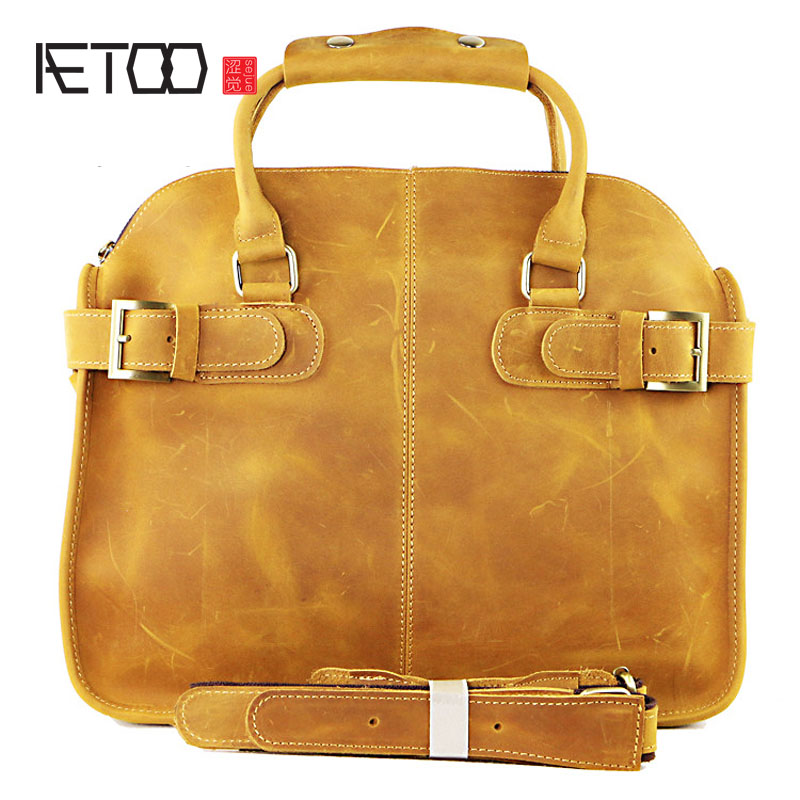 AETOO Retro to do the old mad horse leather men's briefcase first layer of leather men's bag business casual handbag bag briefcase men s style leather casual male mad horse skin retro brown leather men s business package handbag 2017 the latest