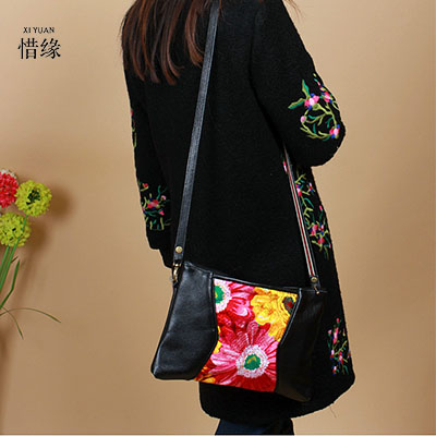 XIYUAN BRAND Fashion ethnic embroidered floral girl handbags Genuine leather women messenger bags women embroidery shoulder bags ethnic embroidered black cami dress for women