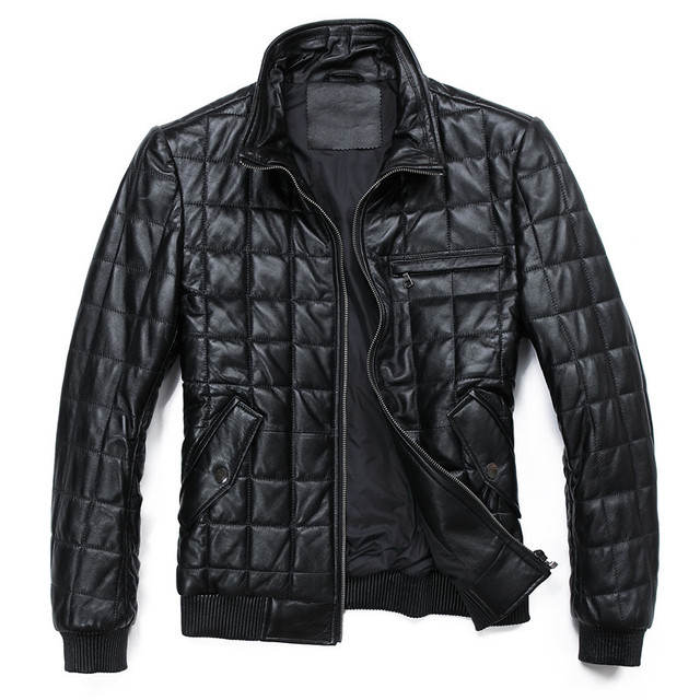 New autumn 2013 men's coats mens waterproof jacket down jacket sheep skin genuine leather motorcycle down coat men sale HN005