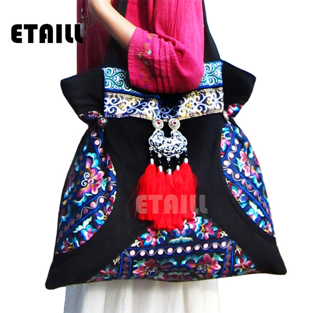 National Original Chinese Hmong Embroidery Bags Handmade Embroidered
