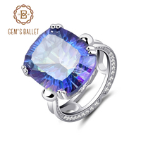 GEM S BALLET 18 42Ct Natural Rainbow Fire Mystic Topaz Ring Cocktail For Women 925 Sterling
