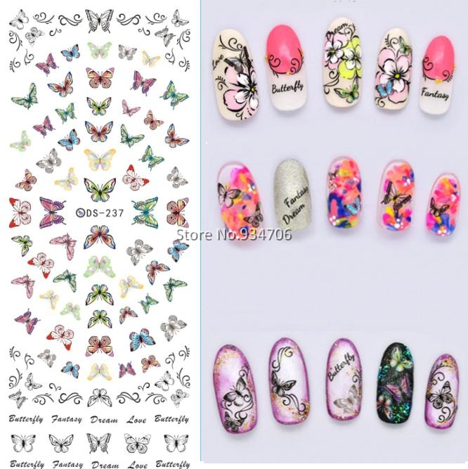 Rocooart DS237 DIY Beauty Water Transfer Nails Art Sticker Flying Colorful Butterfly harajuku Nail Wraps Sticker Taty stickers ds300 2016 new water transfer stickers for nails beauty harajuku blue totem decoration nail wraps sticker fingernails decals