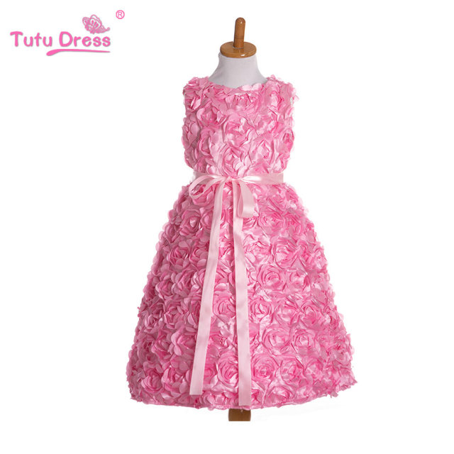 2017 Summer New Children Clothes Girls Beautiful Rosette Dress Quality Baby Girls Dress Teenager Kids Dress for Age 2-9