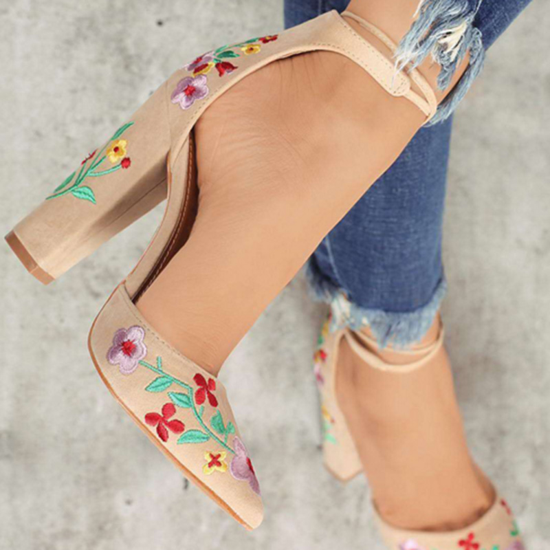 Embroidery Flower Women Shoes Pointed Strappy Pumps Sexy Retro High Thick Heels Shoes 2108 New Woman Shoes Female Lace Up Shoes