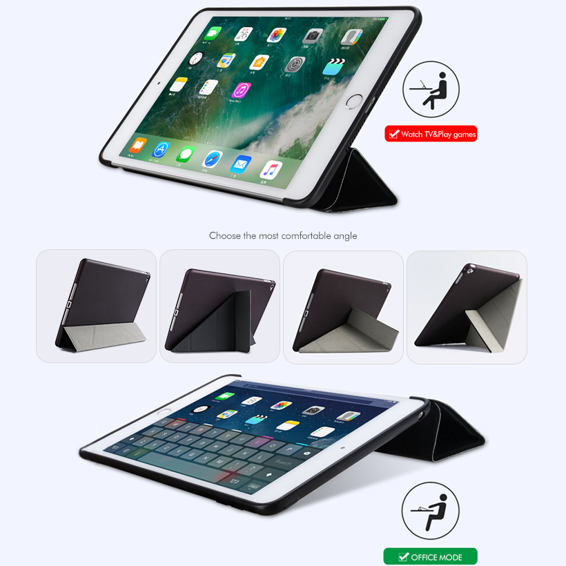 Flip PU Leather Case For iPad5 Tablet Case Silicone Soft Back Cover For iPadAir1 Stand Auto Sleep Smart Cover in Fitted Cases from Cellphones Telecommunications