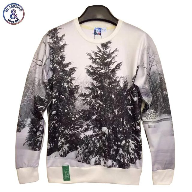 Mr.1991INC New arrival fashion Men/Women's 3d sweatshirts printed white and black winter snow forest tree hoodies S/M/L/XL