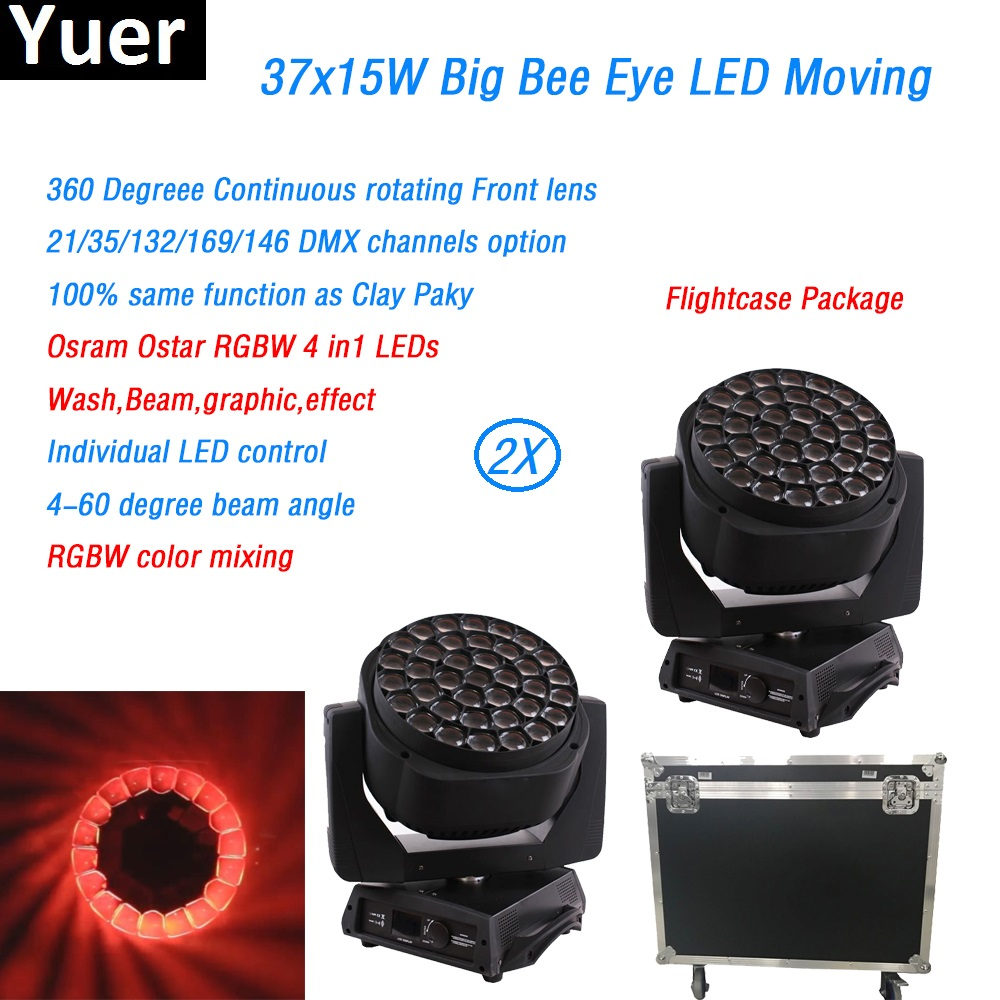 2Pcs/Lot Flightcase Package Led Big Bee Eye Clay Paky Dmx512 Wash Beam Graphic Effect Osram Ostar RGBW 4in1 Leds For Disco Stage