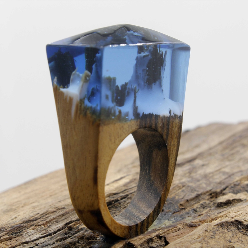 Aliexpresscom Buy Blue Resin Cloud and Mist Wooden Rings Blue