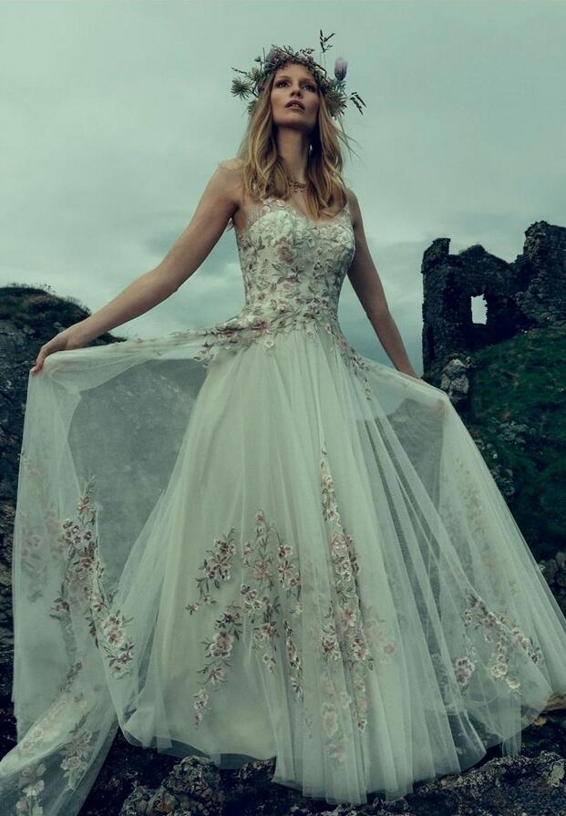 2017 cinderella inspired wedding dresses with colorful appliques lace and v neck a line bridal gowns custom made