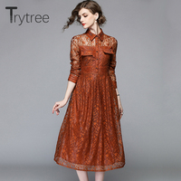 Trytree Spring Summer Elegant Casual Dress star Lace Pockets women Shirt dresses Turn down Collar A Line Office Lady Dress