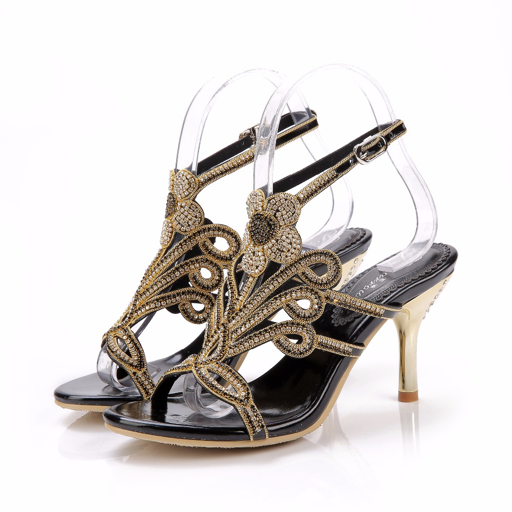 2017 Summer Elegance Sexy Girl Black Floral Rhinestone Buckle Strap High Heels Women Crystal Sandals Peep Toe Woman Casual Shoes