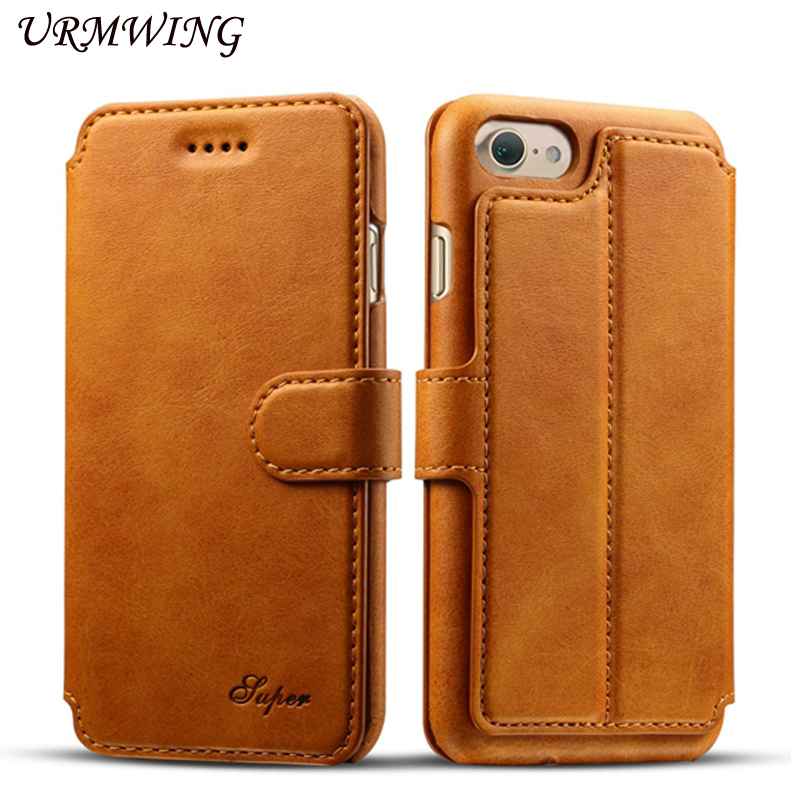Urmwing Brand Business Leather Flip Case For iphone 7 7 Plus Cover Wallet Stand Card Holder Magnetic Phone Bag for iPhone7Plus