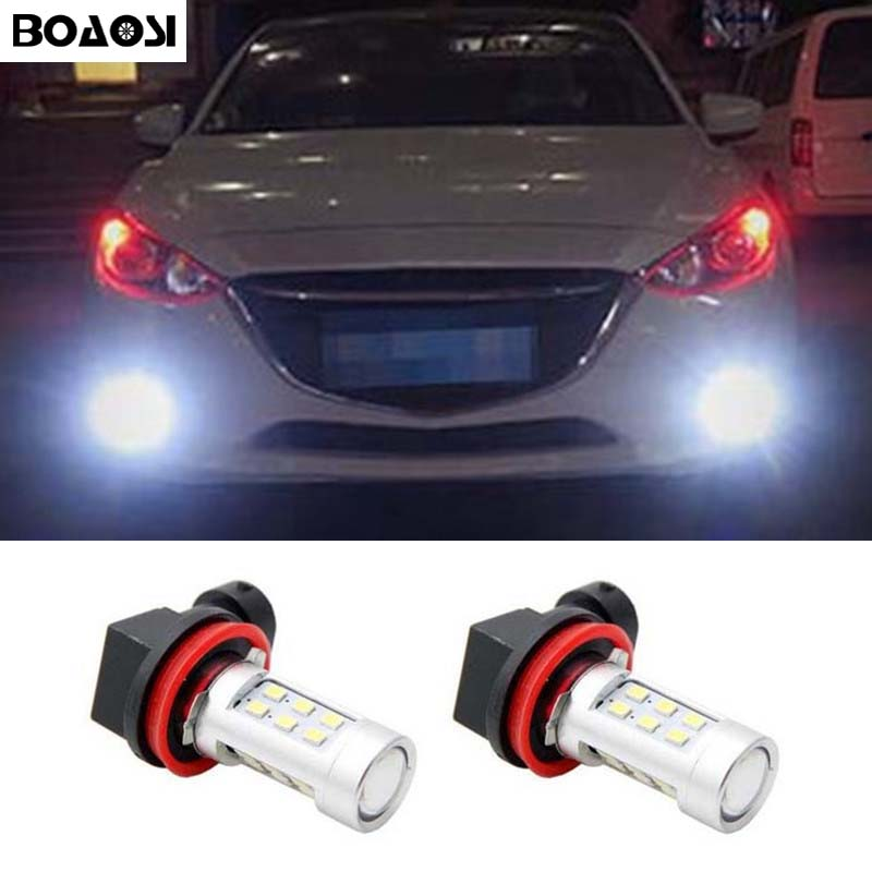 BOAOSI 2x H11 H8 LED canbus Bulbs Reflector Mirror Design For Fog Lights For mazda 3 5 6 xc-5 cx-7 axela atenza boaosi 1x h11 led canbus 5630 33 smd bulbs reflector mirror design for fog lights no error for audi a3 a4 a5 s5 a6 q5 q7 tt