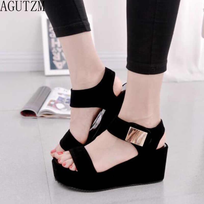 Sandalen vrouwen Zomer schoenen Vrouw wiggen platform sandalen Mode vis mond Rome sandalen wit zwart vrouwen schoenen Pure kleur Z1