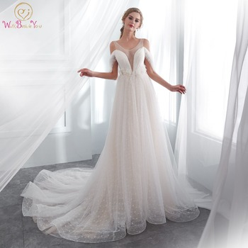 Walk Beside You Robe De Mariee 2020 Wedding Gown Romantic Off Shoulder Sheer Neck Feather Pearl Empire Waist Lace Bridal Dresses