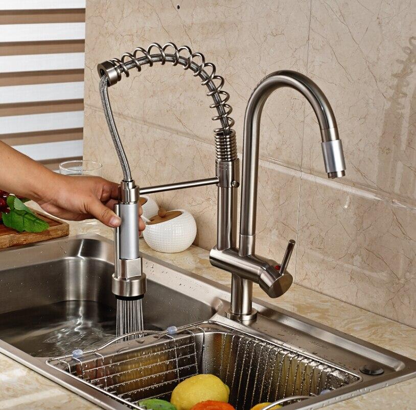 Luxury Deck Mount Kitchen Sink Faucet dual Spray Single handle swivel Spring Mixer Tap Nickel Brushed