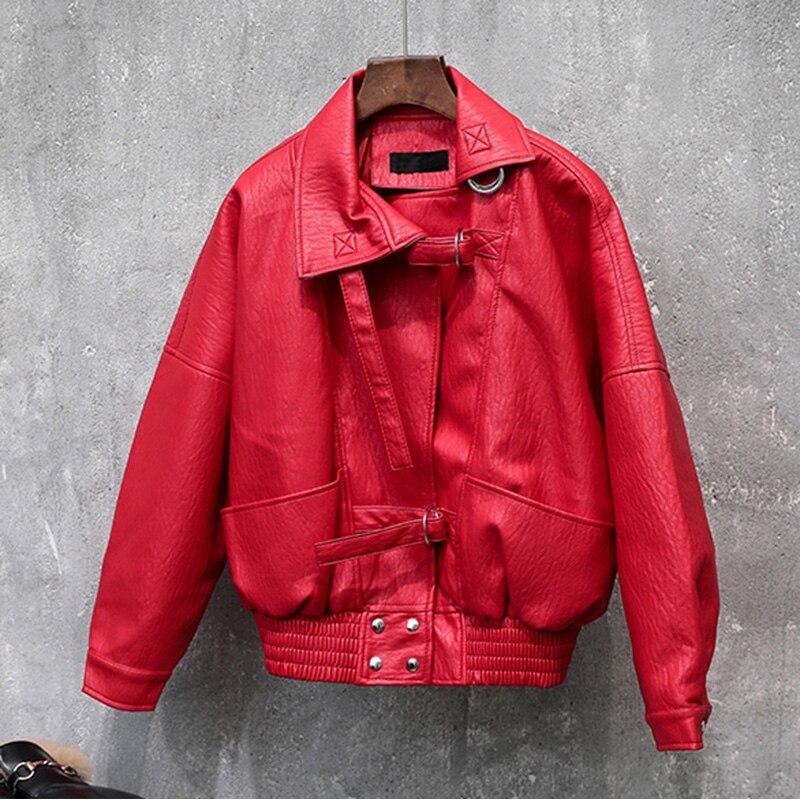 Fashion red PU   leather   jacket coat female Belt zipper   suede   bomber basic jacket Casual outerwear Motor vehicle faux   leather   coat
